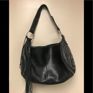 Brighton black leather purse with side beading